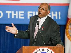 Republican National Committee Chairman Michael Steele predicted the GOP would win control of the House and possibly the Senate in eight days.