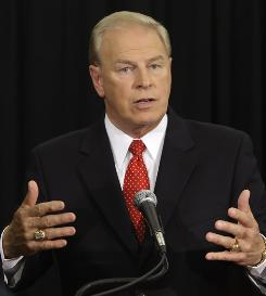 Ohio Gov. Ted Strickland answers questions after a campaign debate with Republican challenger John Kasich, in Columbus, Ohio.