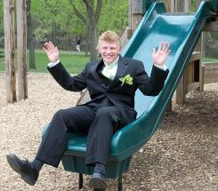 Justin Aaberg, seen here in April at a park in Anoka, Minn. as he was getting ready to go to his junior class prom, hanged himself in his room in July 2010. His friends told his mother he'd been a frequent target of bullies mocking his sexual orientation.