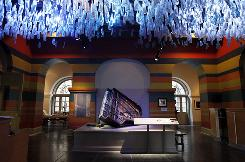 "Musician Fats Domino's Hurricane Katrina-damaged baby grand piano is seen on display at ""Living with Hurricanes: Katrina & Beyond,"" a new permanent exhibit at the Louisiana State Museum in the French Quarter of New Orleans."