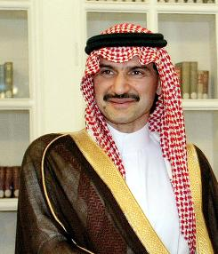 "Saudi Arabian Prince Alwaleed bin Talal, shown here in March 15, 2005, after a $20 million donation to the Lourve Museum, is a financial backer of the proposed Islamic Center in Manhattan but says in an interview with a business magazine that it should be moved away from the current site near Ground Zero to respect the ""wournds"" of the World Trade Center attack."