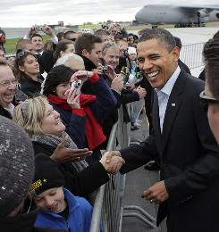 President Obama landed at Cleveland Hopkins airport en route to a rally at Cleveland State University.