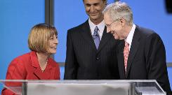 Nevada Sen. Harry Reid, right, needs a huge turnout in Clark County to turn back the challenge of Sharron Angle, left. The battleground is Washoe County, which includes Angle's hometown of Reno.