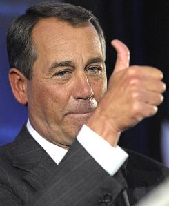 House Republican leader John Boehner of Ohio celebrates the GOP's victory that changes the balance of power in Congress and will likely elevate him to Speaker of the House.