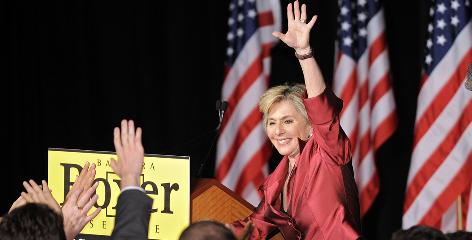 Sen. Barbara Boxer, D-Calif., waves to supporters after winning re-election in her race against Calry Fiorina, Nov. 2 in Los Angeles.