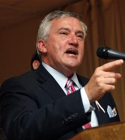 U.S. Rep. Travis Childers, D-Miss., makes his concession speech to a gathering of supporters in Booneville, Miss., Tuesday after losing to Republican Alan Nunnelee of Tupelo for the First Congressional District seat.