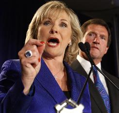 Newly elected Oklahoma Governor Mary Fallin speaks to supporters during a victory party in Oklahoma City,