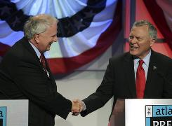 Democratic candidate for Georgia governor Roy Barnes, left, shakes hands with Republican candidate Nathan Deal at the conclusion of a debate on Sunday in Atlanta.