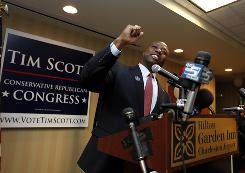 Rep.-elect Tim Scott, R-S.C., celebrates his victory at his election night party at the Hilton Garden Inn in North Charleston, S.C. Scott will be the first Republican African-American congressman from South Carolina since Reconstruction.