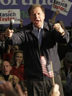 Ohio Governor-elect John Kasich speaks at a rally Monday in Cincinnati.