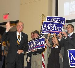 Republican Jerry Moran waves to supporters Tuesday night in Hays, Kan., after he defeated Democrat Lisa Johnson for the U.S. Senate seat from Kansas.
