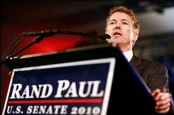 Republican Rand Paul addresses his supporters in Bowling Green, Ky., after defeating Democrat Jack Conway to win Kentucky's U.S. Senate seat.