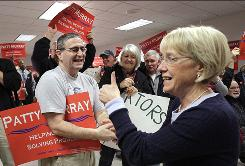 Sen. Patty Murray, D-Wash., greets supporters during a stop at the Boeing machinist's union hall Monday in Everett, Wash. Murray faced Republican challenger Dino Rossi in Tuesday's election.