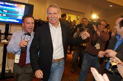 John Kitzhaber makes his way to the stage on election night at the downtown Portland, Ore., Hilton on Tuesday.