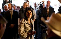 South Carolina Gov.-elect Nikki Haley speaks to voters at Hudson's Smokehouse on Wednesday in Lexington, S.C.