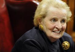 Former Secretary of State Madeleine Albright speaks with the Argus Leader at Mikkelsen Library at Augustana College on Thursday.