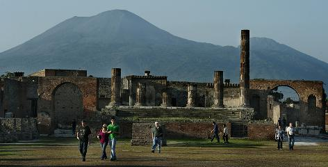Tourists visit Pompeii, a city of Roman age on the slopes of Mount Vesuvius and one of the world's most famous archaeological sites. More than 6,000 tourists visit the city every day.