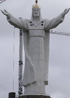 Workers completed a giant statue of Jesus Christ in Swiebodzin, Poland. Its creators say the crowned statue ranks as the biggest in the world.