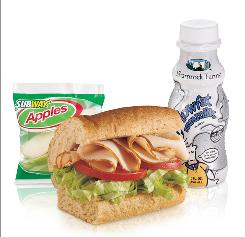 A good bet for a kids' meal comes from Subway: a turkey sandwich, apple slices and low-fat milk.
