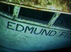 The wreckage of the Edmund Fitzgerald is pictured in this photo taken by Frederick Shannon from a Delta submarine. The explorer spent about $75,000 to lease a two-man sub in July 1994.