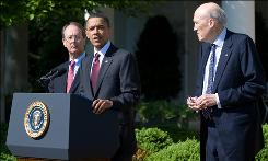 President Obama stands alongside Erskine Bowles, left, and Alan Simpson, right, co-chairs of the National Commission on Fiscal Responsibility and Reform, in the Rose Garden of the White House on April 27.