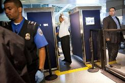 TSA officers give a demonstration of the first Advanced Imaging Technology unit at John F. Kennedy International Airport's Terminal 8 passenger security checkpoint on Oct. 22 in Queens.