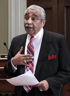 Rep. Charles Rangel, D-N.Y., appears on Capitol Hill in Washington before the House Committee on Standards of Official Conduct hearing on Nov. 15.