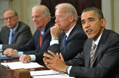 President Obama speaks Thursday during a meeting on the new START Treaty. Looking on from left are: former U.S. senator Sam Nun, former secretary of State James Baker, and Vice President Biden.