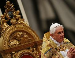 Pope Benedict XVI, shown here leading a ceremony in St Peter's basilica at the Vatican on Saturday, reiterated the Church's ban on condom use in a new book but made one rare exception  use by a male prostitute to prevent the spread of AIDS.
