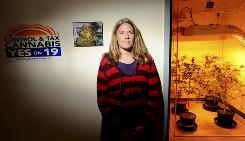 Marijuana advocate Debby Goldsberry stands outside a grow room in Oakland on Saturday. Goldsberry founded Berkeley Patients Group, one of the Bay Area's first marijuana dispensaries, more than 10 years ago.