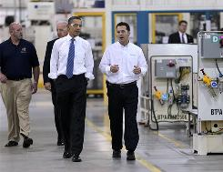 President Obama and Vice President Biden tour Chrysler's Indiana Transmission Plant II in Kokomo, Ind., on Tuesday. They are escorted by Jeremy Keating, far right, manager of the Indiana Transmission Plant II, and Richie Boruff, far left, president of the United Auto Workers Local 685.