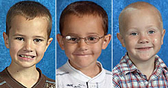 From left to right: Andrew Skelton, 9, Alexander, 7, and Tanner, 5.