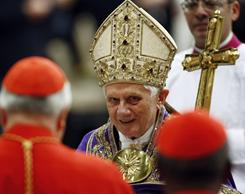 Pope Benedict XVI arrives Saturday to celebrate a vespers service to mark the beginning of Advent, the period leading up to Christmas when the faithful mark the birth of Christ, in St. Peter's Basilica at the Vatican.