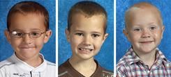 Three boys were last seen in their father's backyard in Morenci, Mich., on Thursday. From left: Alexander Skelton, 7 Andrew Skelton, 9, and Tanner Skelton. 5.