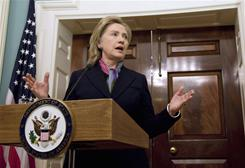 Secretary of State Hillary Rodham Clinton speaks about the WikiLeaks document release Monday at the State Department in Washington.