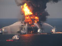 Crews battle the Deepwater Horizon oil rig fire on April 21.
