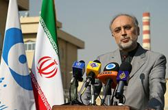 Iran's atomic chief Ali Akbar Salehi speaks during a press conference outside a fuel manufacturing plant in the central province of Isfahan on Sunday.