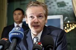 WikiLeaks founder Julian Assange speaks during a news conference at the Geneva press club, in Geneva, Switzerland.