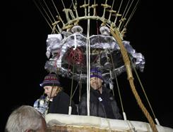 This Sept. 25, 2010 file photo shows balloonists Carol Rymer Davis, left, and Richard Abruzzo launching for the Gordon Bennett gas balloon race at Bristol, England.