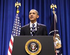 President Obama makes a statement Monday in Washington, after meeting with Democratic congressional leaders on a year-end bipartisan agreement to extend expiring tax cuts.