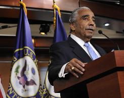 Rep. Charles Rangel, D-N.Y., gives a press conference immediately following a censure vote against him for breaking 11 different ethics rules.