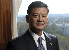 Eric Shinseki, secretary of Veterans Affairs, poses in his office overlooking the White House.