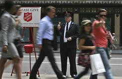 Salvation Army kettles are a familiar sight this time of year.