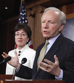 Sen. Joseph Lieberman, I-Conn., and Sen. Susan Collins, R-Maine.