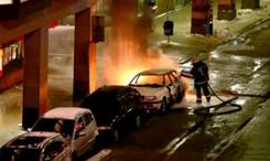 This image from TV4 video shows the scene of a car explosion in the center of Stockholm on Saturday.