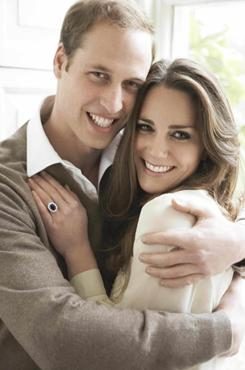This is one of two official portrait photographs released Sunday to mark the engagement of Britain's Prince William and Kate Middleton.