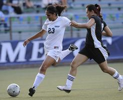 Drew University's Shamila Kohestani, No. 23, goes after the ball during a match against Medgar Evers College in September 2009. At 19, Kohestani was captain of Afghanistan's first national soccer team.