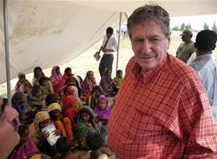 Richard Holbrooke, special envoy to Pakistan and Afghanistan, visits a camp for flood victims in Sindh province, Pakistan, in September. Before his death Monday, Holbrooke was running the civilian effort to bring security to the region.