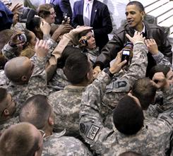 President Obama greets troops at a rally during an unannounced visit Dec. 3 at Bagram Air Field in Afghanistan.
