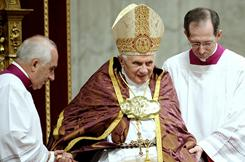 Pope Benedict XVI leads prayer in St.Peter's Basilica at the Vatican on Thursday.